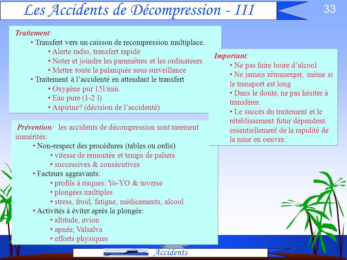 32 Les Accidents de Décompression - II Accidents Cutanés (Puces, Moutons): démangeaisons localisées ou généralisées, dues à un dégazage au niveau de l