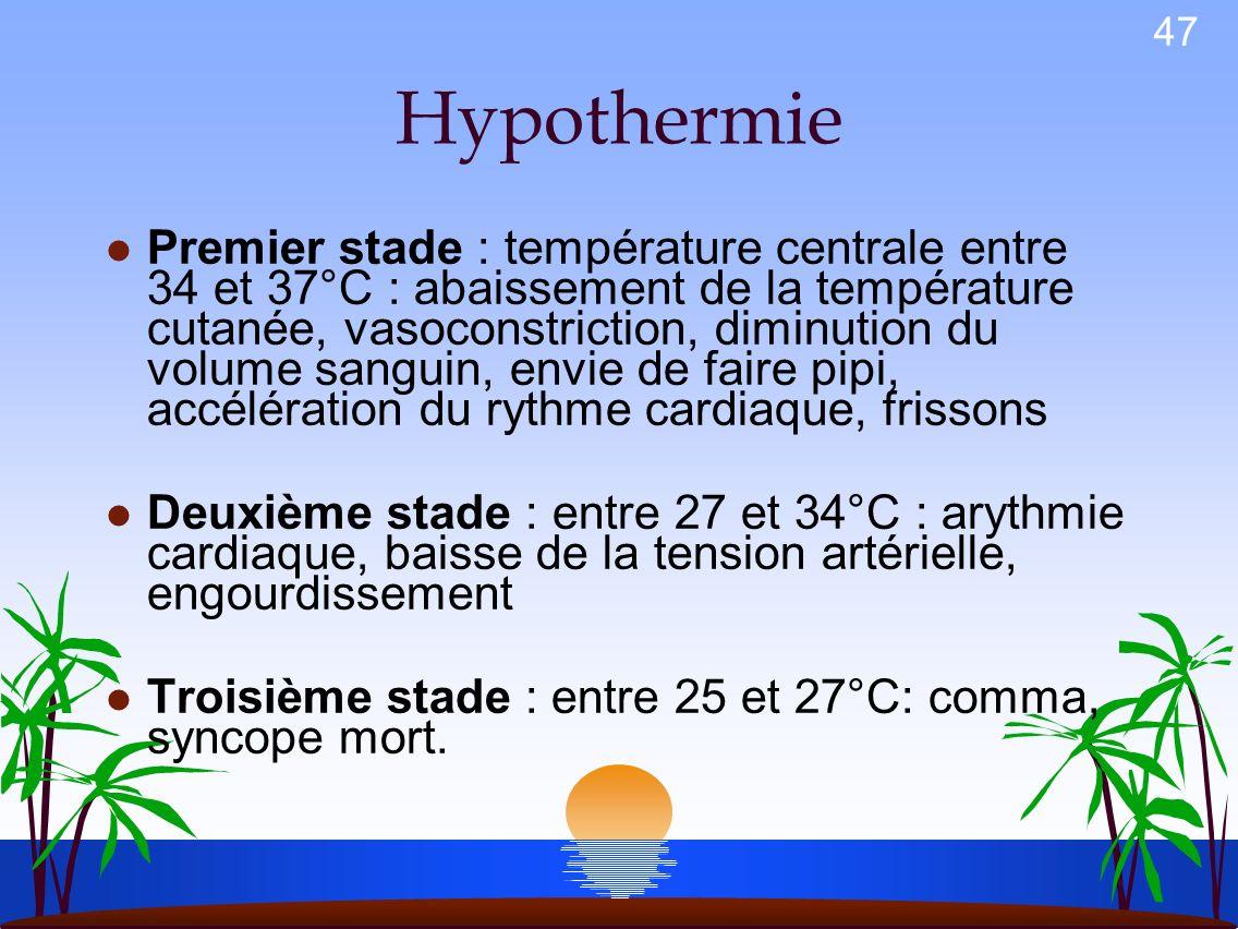 46 La thermorégulation humaine l Le frisson l La vasoconstriction l La transpiration l Assurer lhoméothermie coûte 25 fois plus cher dans leau que dan
