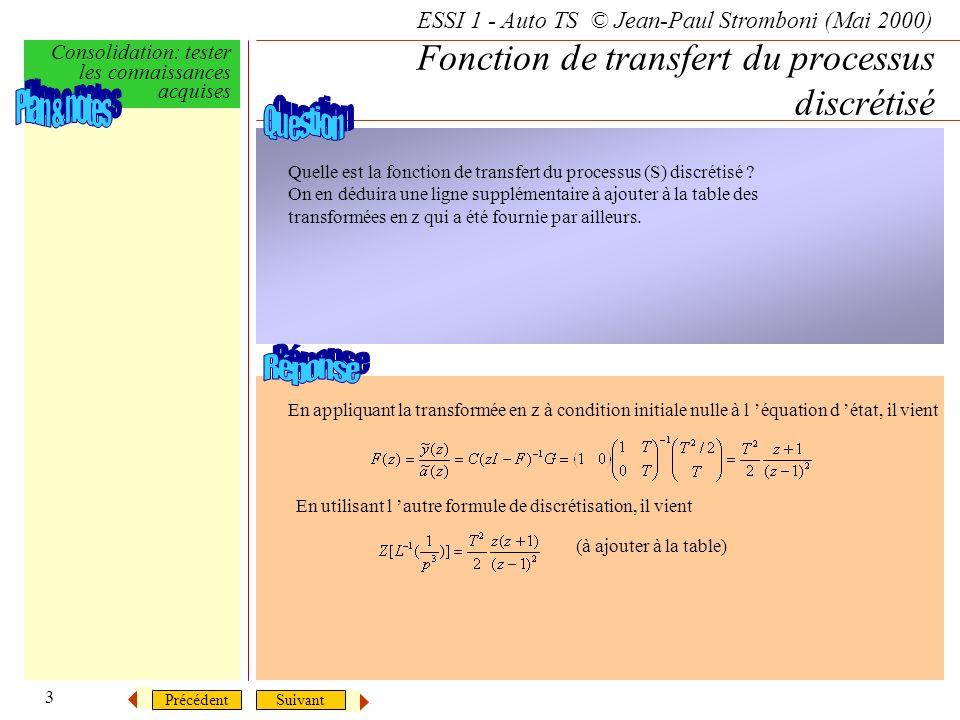SuivantPrécédent ESSI 1 - Auto TS © Jean-Paul Stromboni (Mai 2000) Consolidation: tester les connaissances acquises 3 Fonction de transfert du processus discrétisé Quelle est la fonction de transfert du processus (S) discrétisé .