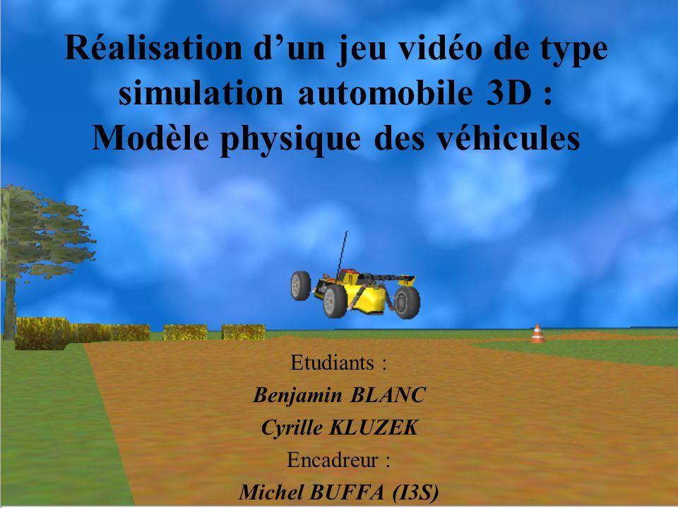 Réalisation dun jeu vidéo de type simulation automobile 3D : Modèle physique des véhicules Etudiants : Benjamin BLANC Cyrille KLUZEK Encadreur : Miche