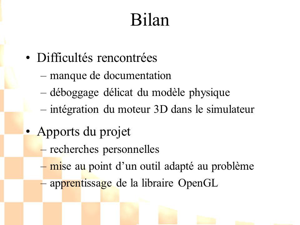 Bilan Difficultés rencontrées –manque de documentation –déboggage délicat du modèle physique –intégration du moteur 3D dans le simulateur Apports du p