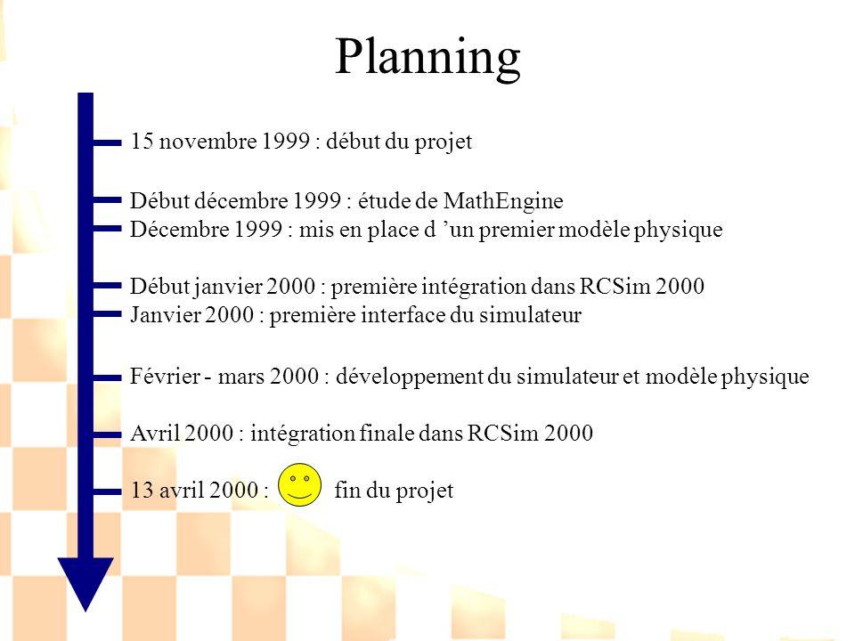 Planning 15 novembre 1999 : début du projet Début décembre 1999 : étude de MathEngine Décembre 1999 : mis en place d un premier modèle physique Début