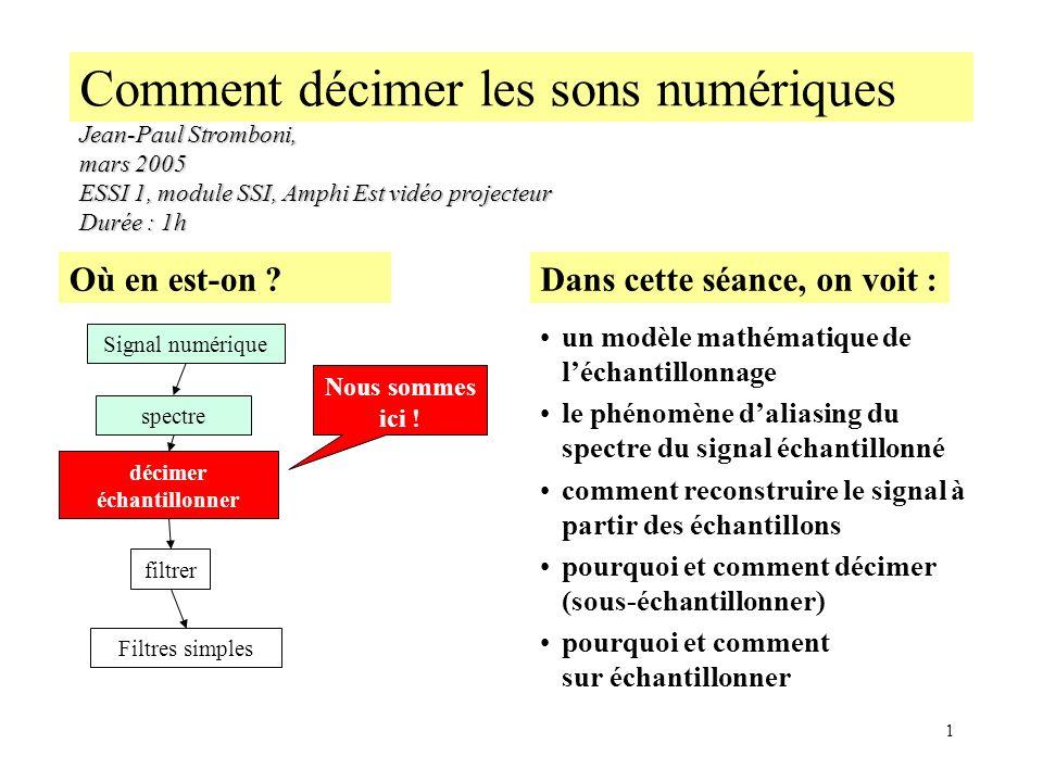 1 Comment décimer les sons numériques Jean-Paul Stromboni, mars 2005 ESSI 1, module SSI, Amphi Est vidéo projecteur Durée : 1h Dans cette séance, on v