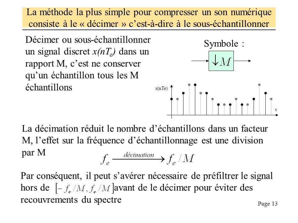 Page 13 La méthode la plus simple pour compresser un son numérique consiste à le « décimer » cest-à-dire à le sous-échantillonner Symbole : Décimer ou