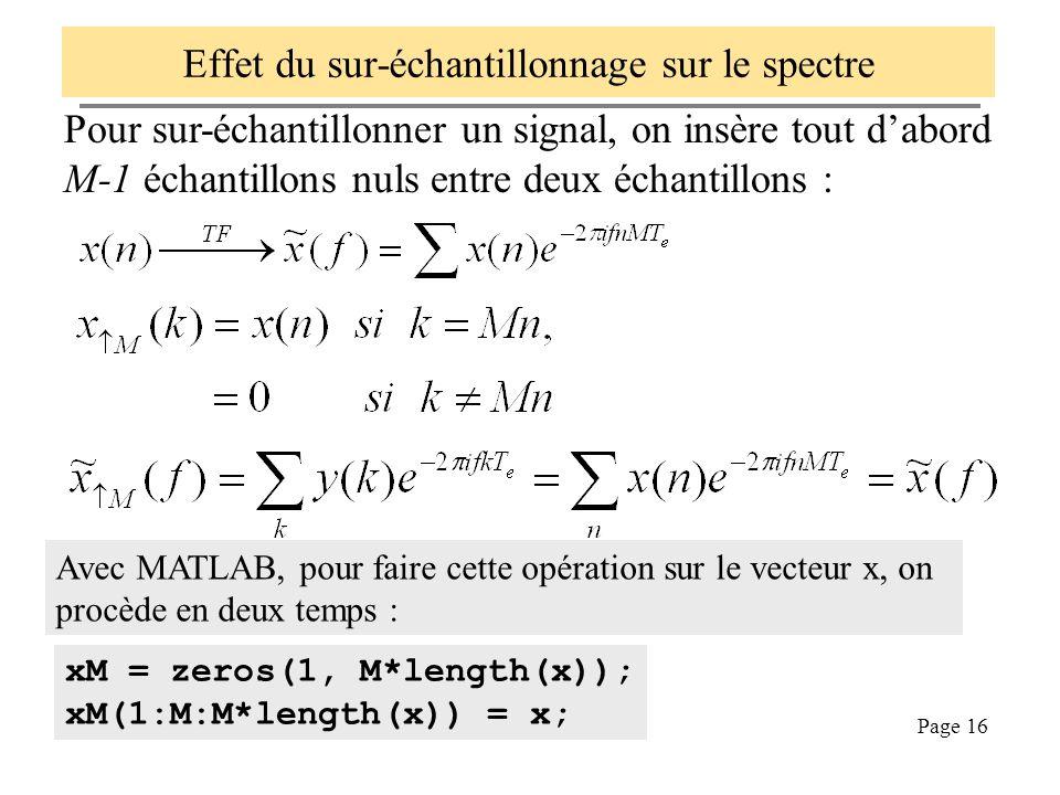 Page 16 Effet du sur-échantillonnage sur le spectre Pour sur-échantillonner un signal, on insère tout dabord M-1 échantillons nuls entre deux échantil