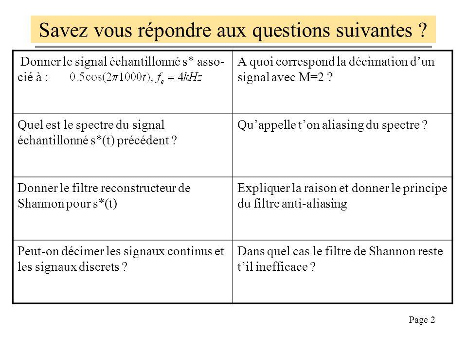 Page 2 Donner le signal échantillonné s* asso- cié à : A quoi correspond la décimation dun signal avec M=2 ? Quel est le spectre du signal échantillon