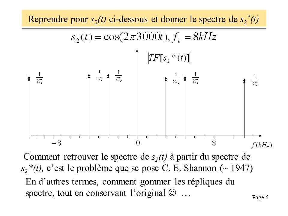 Page 6 Reprendre pour s 2 (t) ci-dessous et donner le spectre de s 2 * (t) En dautres termes, comment gommer les répliques du spectre, tout en conserv