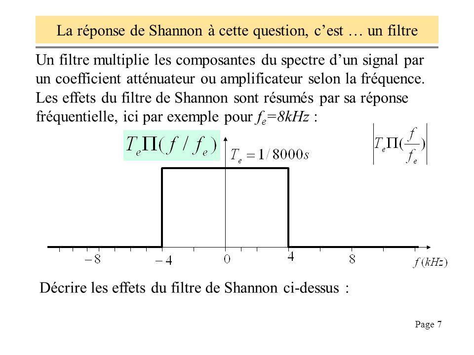 Page 7 La réponse de Shannon à cette question, cest … un filtre Un filtre multiplie les composantes du spectre dun signal par un coefficient atténuate