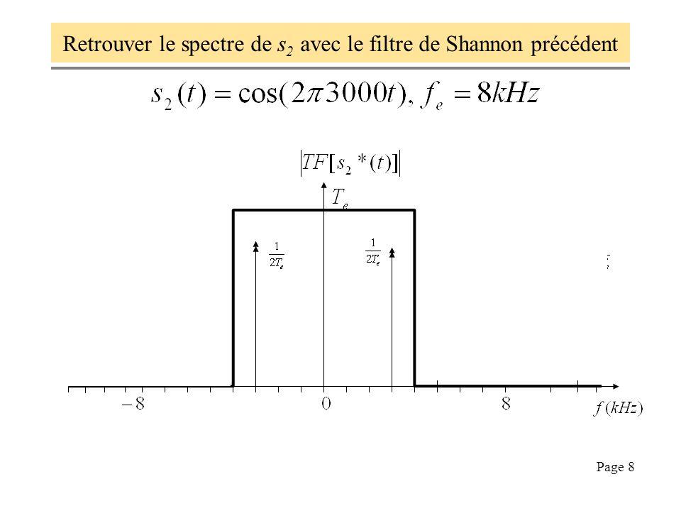Page 9 Pour retrouver s(t) à partir des échantillons s(nTe) dans s*(t), on élimine du spectre de s*(t) par filtrage tous les alias hors de [-fe/2, fe/2] pour récupérer le spectre de s(t), puis on trouve s(t) par Transformée de Fourier inverse, en dautres termes : On en tire une formule, dite formule de Shannon, applicable si et seulement si la condition de Shannon est respectée.