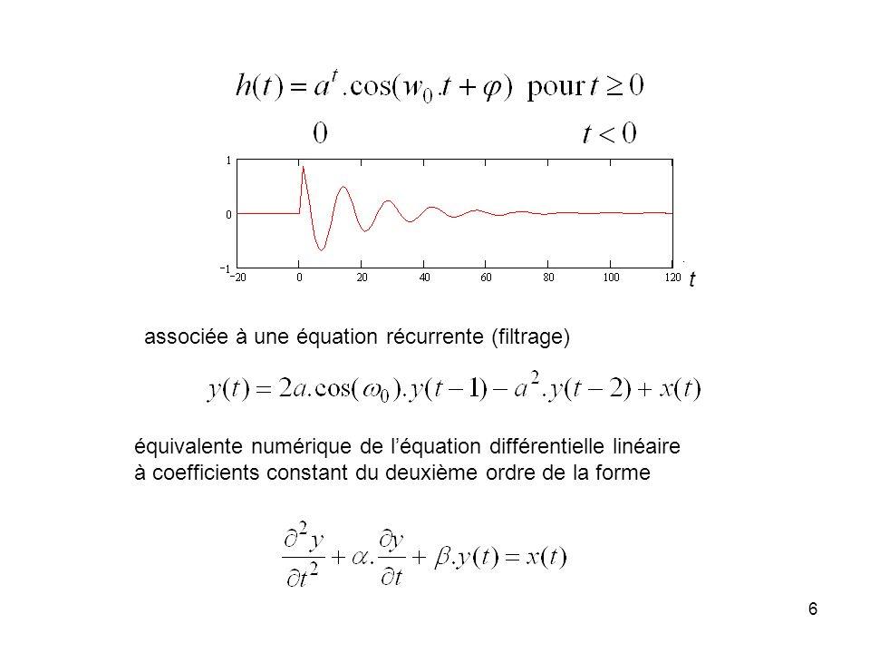 6 équivalente numérique de léquation différentielle linéaire à coefficients constant du deuxième ordre de la forme associée à une équation récurrente (filtrage) t