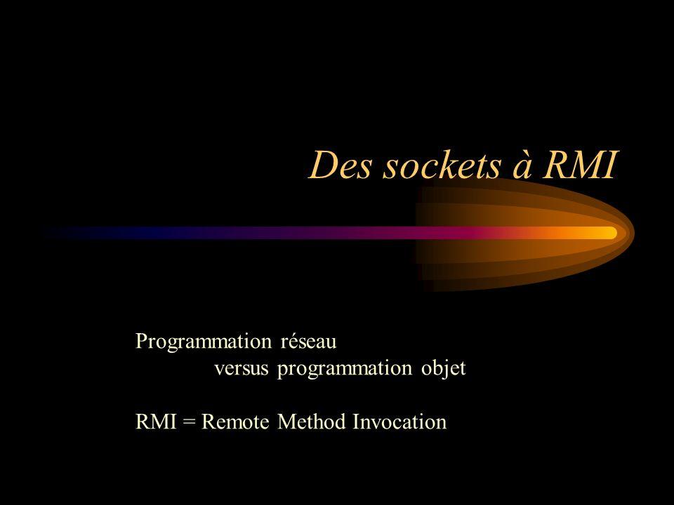 Des sockets à RMI Programmation réseau versus programmation objet RMI = Remote Method Invocation