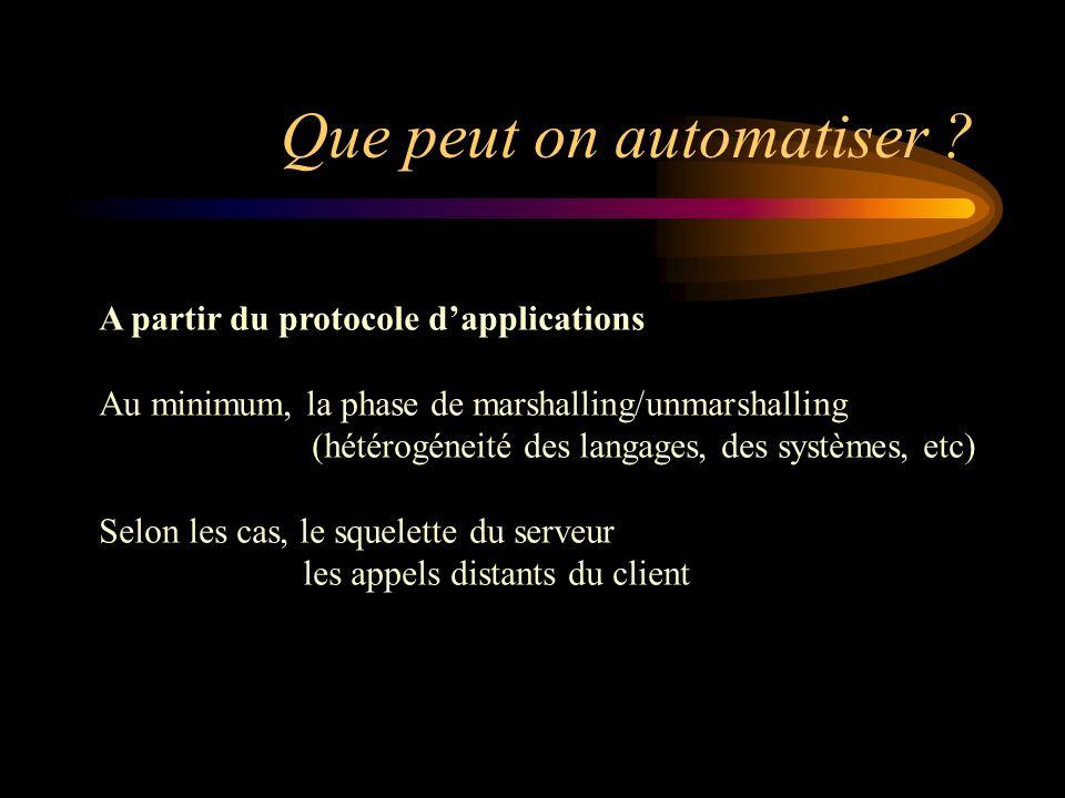 Que peut on automatiser ? A partir du protocole dapplications Au minimum, la phase de marshalling/unmarshalling (hétérogéneité des langages, des systè