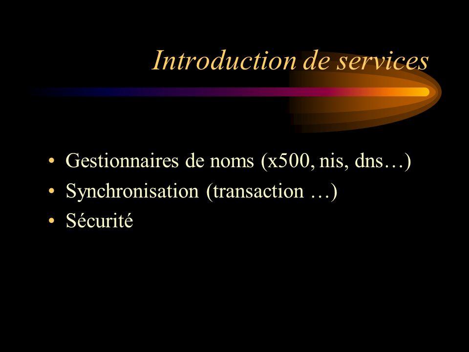 Introduction de services Gestionnaires de noms (x500, nis, dns…) Synchronisation (transaction …) Sécurité