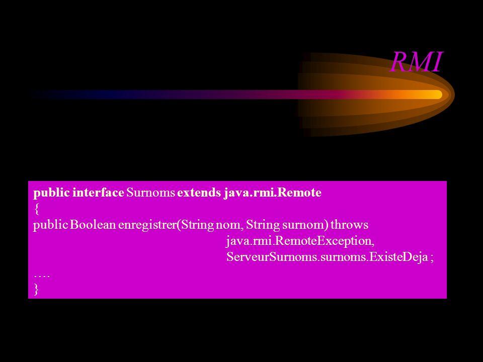 RMI public interface Surnoms extends java.rmi.Remote { public Boolean enregistrer(String nom, String surnom) throws java.rmi.RemoteException, ServeurSurnoms.surnoms.ExisteDeja ; ….