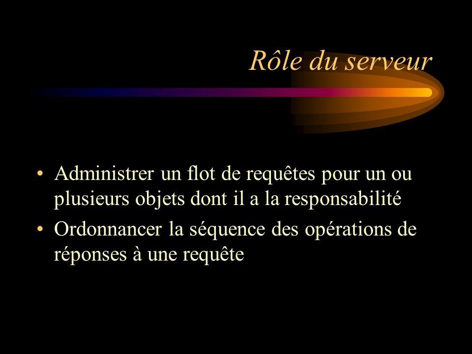 Rôle du serveur Administrer un flot de requêtes pour un ou plusieurs objets dont il a la responsabilité Ordonnancer la séquence des opérations de réponses à une requête