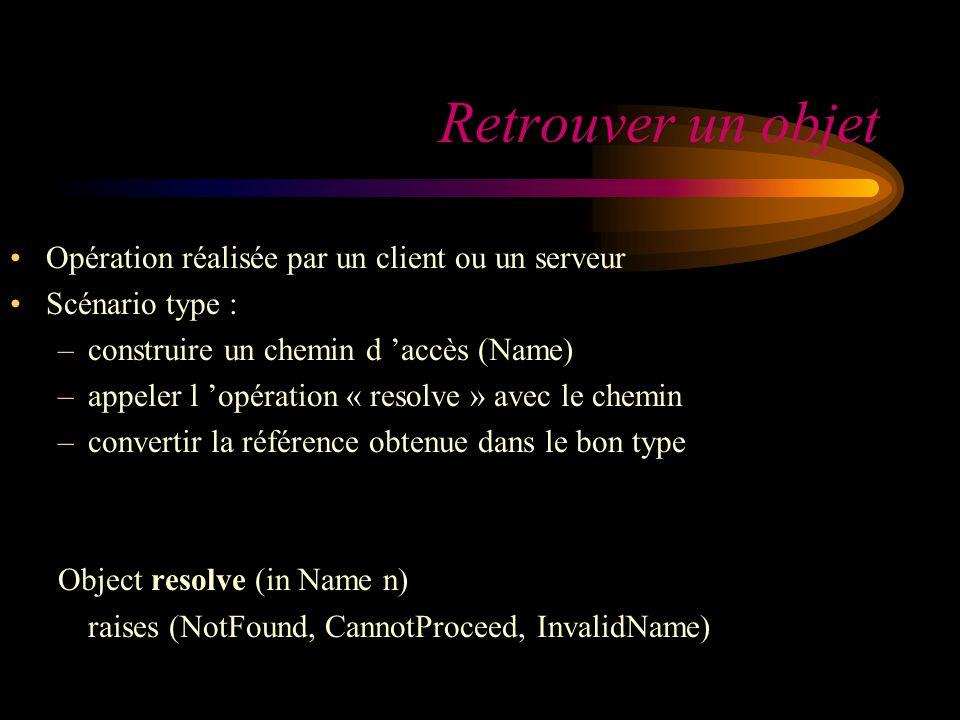 Retrouver un objet Opération réalisée par un client ou un serveur Scénario type : –construire un chemin d accès (Name) –appeler l opération « resolve » avec le chemin –convertir la référence obtenue dans le bon type Object resolve (in Name n) raises (NotFound, CannotProceed, InvalidName)