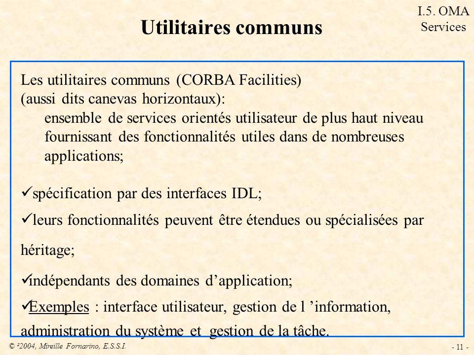 © ²2004, Mireille Fornarino, E.S.S.I. - 11 - Les utilitaires communs (CORBA Facilities) (aussi dits canevas horizontaux): ensemble de services orienté