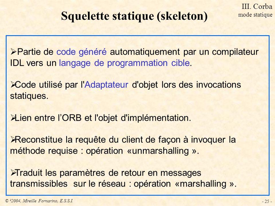 © ²2004, Mireille Fornarino, E.S.S.I. - 25 - Squelette statique (skeleton) Partie de code généré automatiquement par un compilateur IDL vers un langag