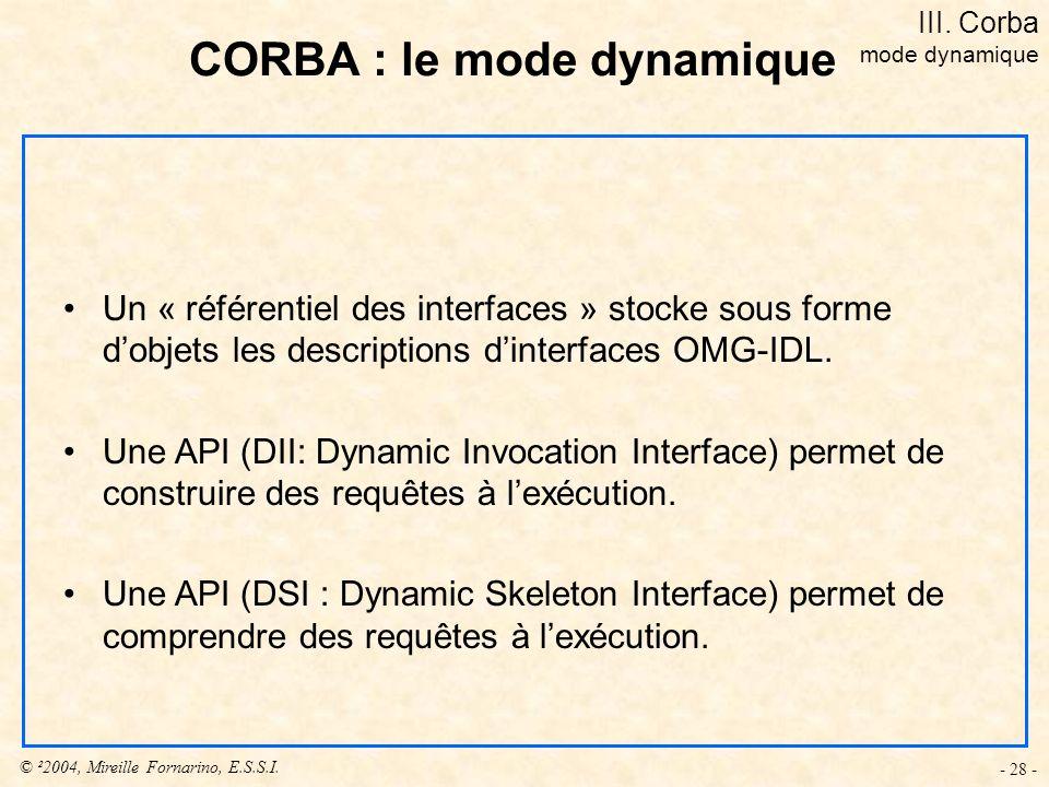 © ²2004, Mireille Fornarino, E.S.S.I. - 28 - Un « référentiel des interfaces » stocke sous forme dobjets les descriptions dinterfaces OMG-IDL. Une API