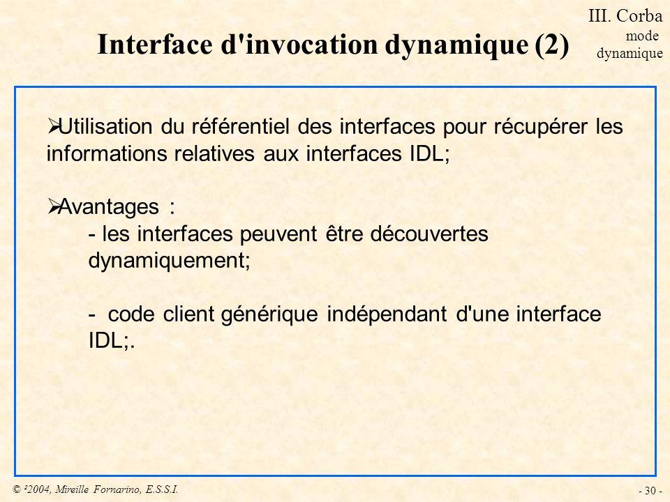 © ²2004, Mireille Fornarino, E.S.S.I. - 30 - Interface d'invocation dynamique (2) Utilisation du référentiel des interfaces pour récupérer les informa