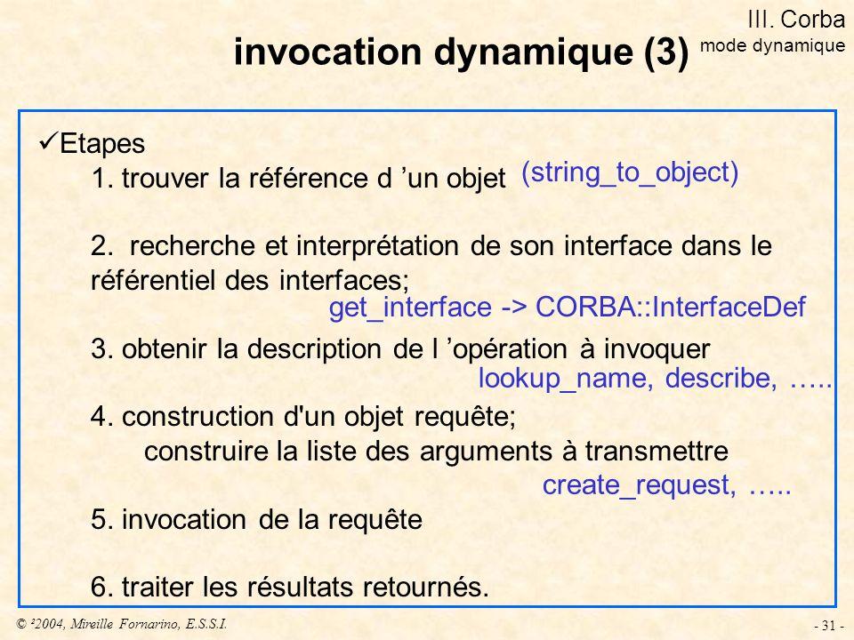© ²2004, Mireille Fornarino, E.S.S.I. - 31 - Etapes 1. trouver la référence d un objet 2. recherche et interprétation de son interface dans le référen