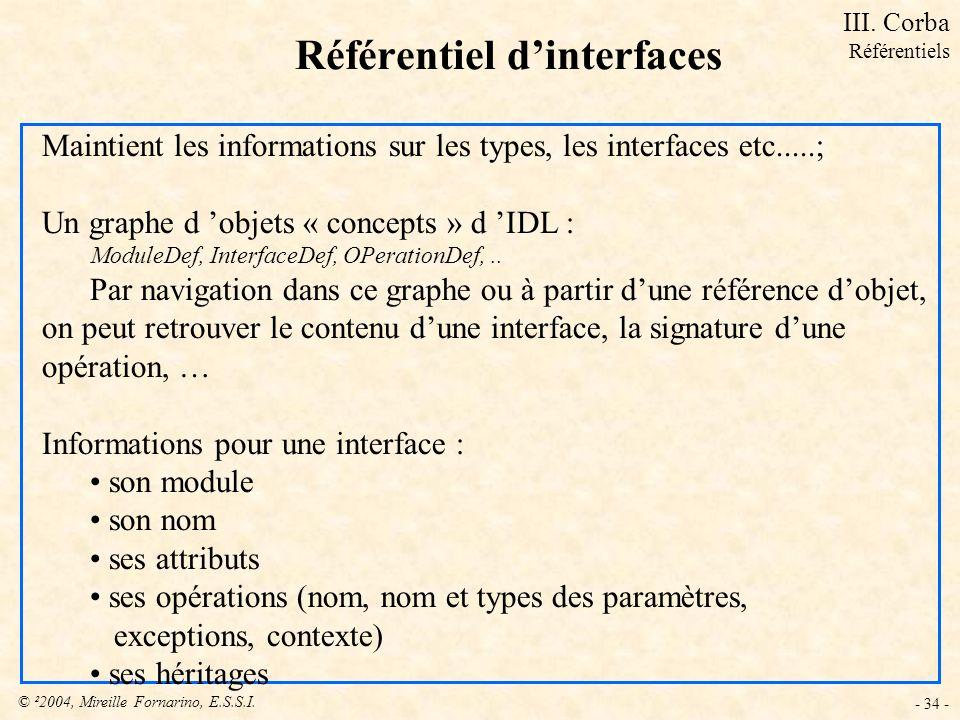 © ²2004, Mireille Fornarino, E.S.S.I. - 34 - Référentiel dinterfaces Maintient les informations sur les types, les interfaces etc.....; Un graphe d ob