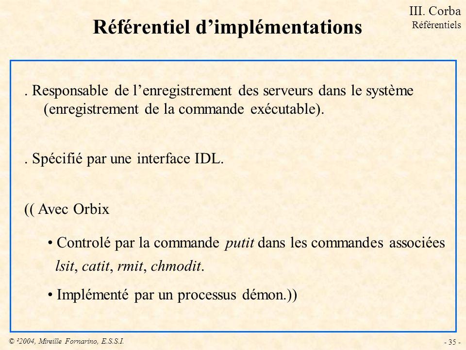© ²2004, Mireille Fornarino, E.S.S.I. - 35 - Référentiel dimplémentations. Responsable de lenregistrement des serveurs dans le système (enregistrement