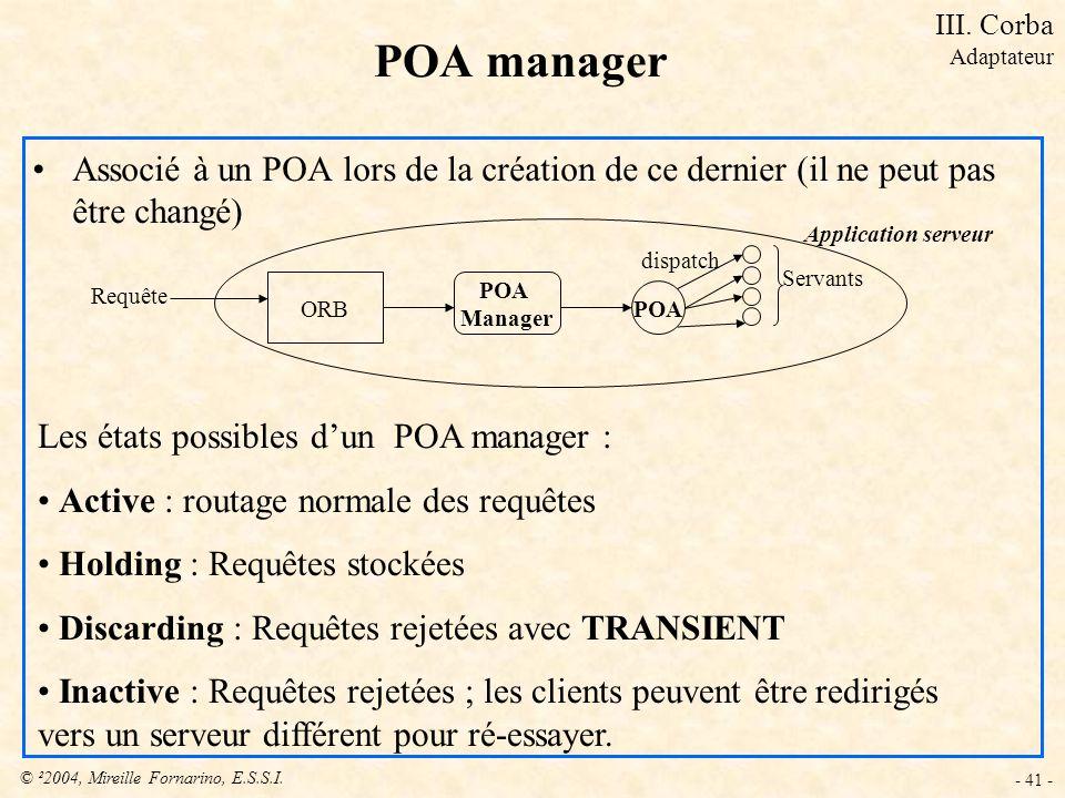 © ²2004, Mireille Fornarino, E.S.S.I. - 41 - POA manager Associé à un POA lors de la création de ce dernier (il ne peut pas être changé) Les états pos