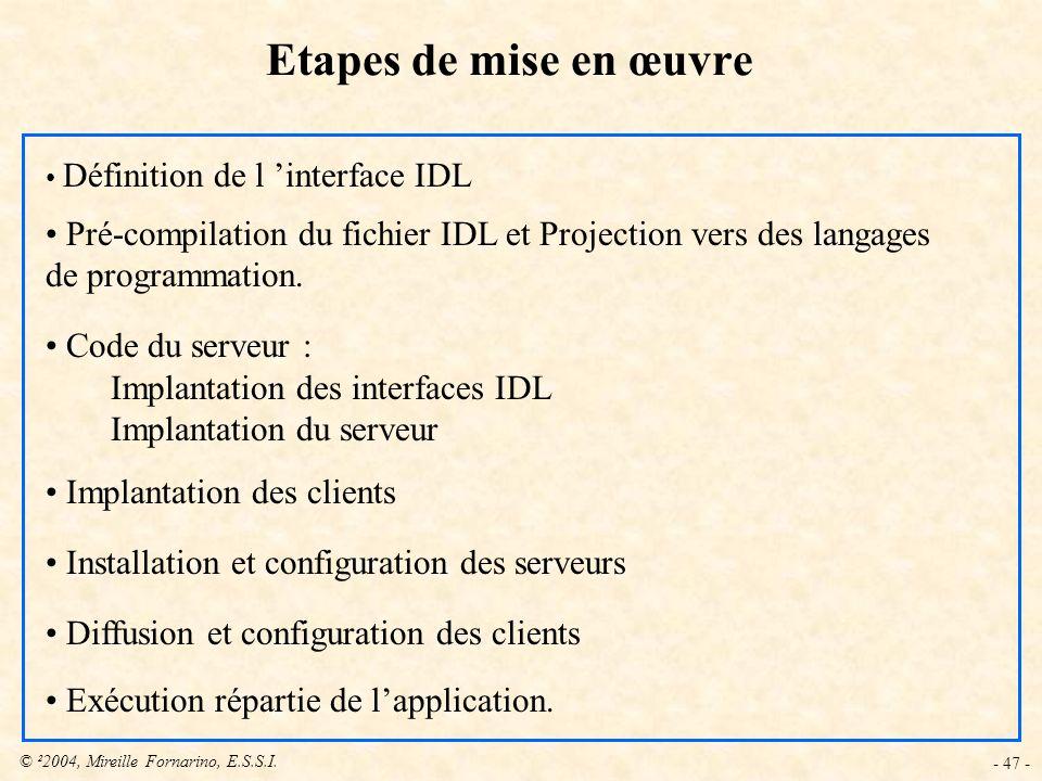 © ²2004, Mireille Fornarino, E.S.S.I. - 47 - Définition de l interface IDL Pré-compilation du fichier IDL et Projection vers des langages de programma