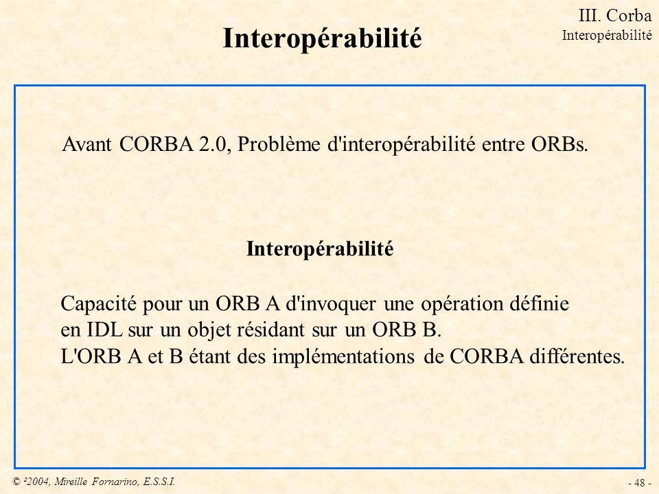© ²2004, Mireille Fornarino, E.S.S.I. - 48 - Interopérabilité Capacité pour un ORB A d'invoquer une opération définie en IDL sur un objet résidant sur
