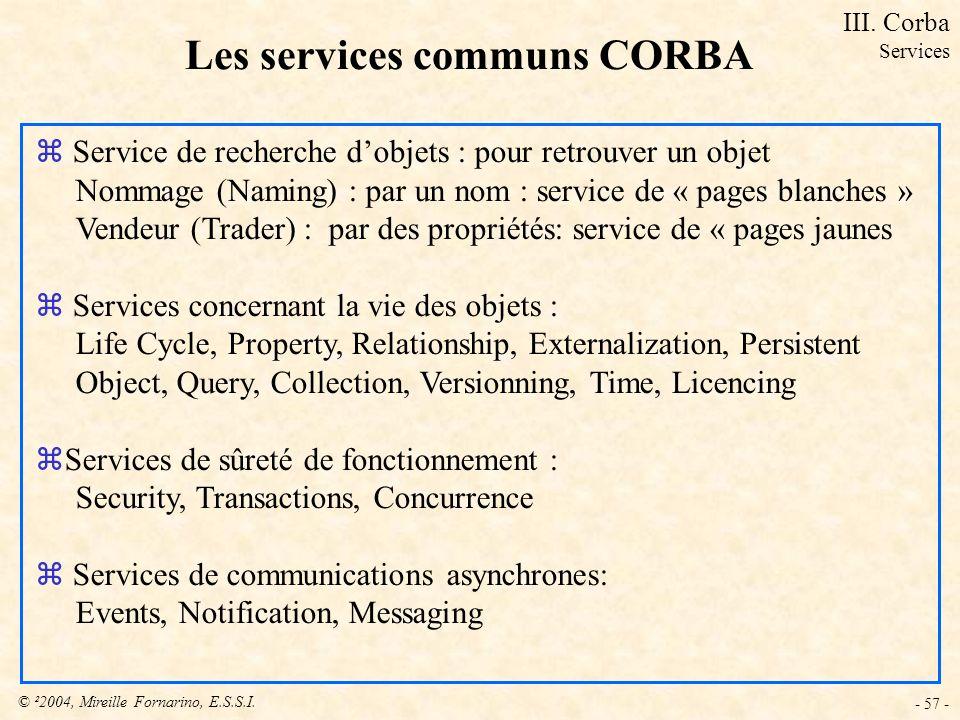 © ²2004, Mireille Fornarino, E.S.S.I. - 57 - Les services communs CORBA z Service de recherche dobjets : pour retrouver un objet Nommage (Naming) : pa