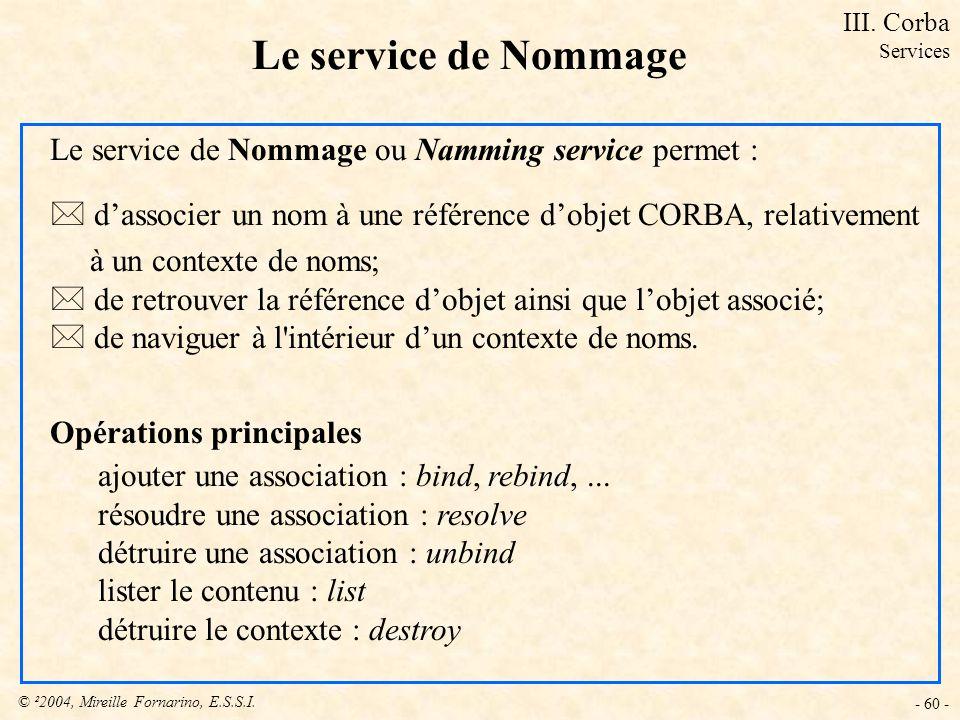 © ²2004, Mireille Fornarino, E.S.S.I. - 60 - Le service de Nommage Le service de Nommage ou Namming service permet : * dassocier un nom à une référenc