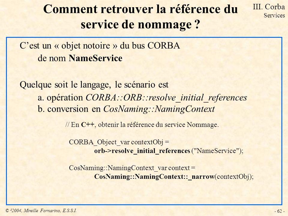 © ²2004, Mireille Fornarino, E.S.S.I. - 62 - Comment retrouver la référence du service de nommage ? Cest un « objet notoire » du bus CORBA de nom Name