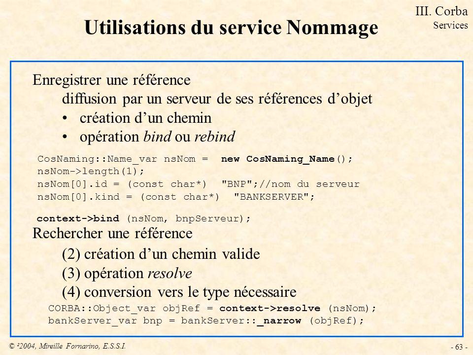 © ²2004, Mireille Fornarino, E.S.S.I. - 63 - Utilisations du service Nommage Enregistrer une référence diffusion par un serveur de ses références dobj