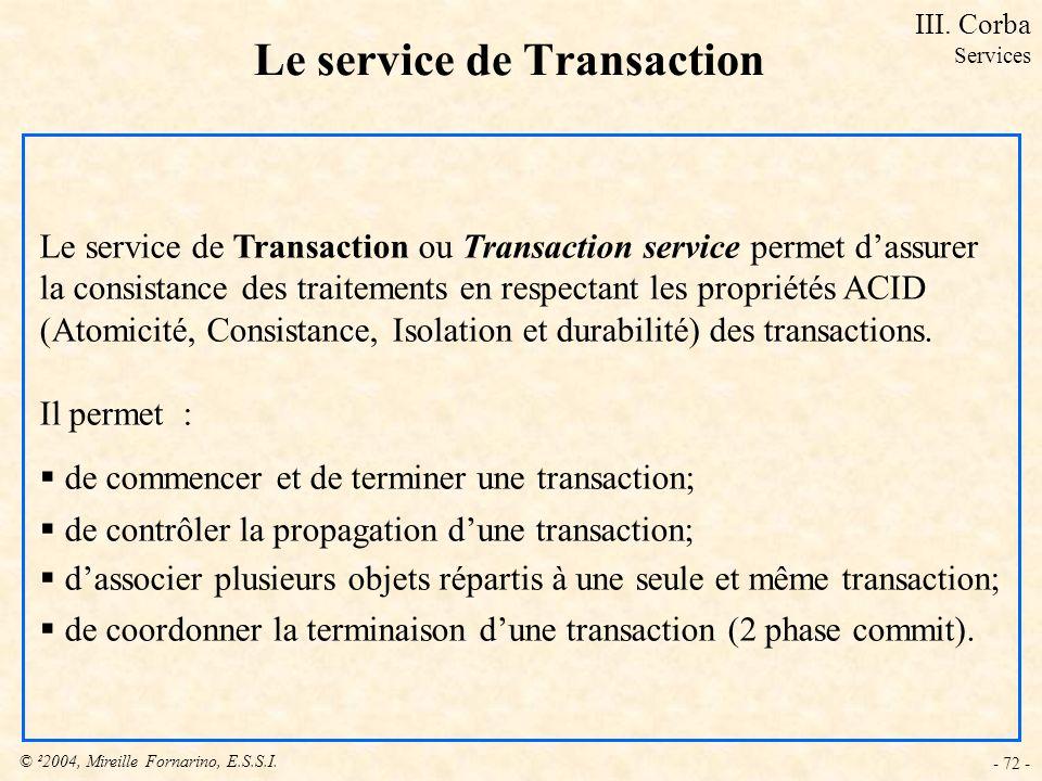 © ²2004, Mireille Fornarino, E.S.S.I. - 72 - Le service de Transaction Le service de Transaction ou Transaction service permet dassurer la consistance