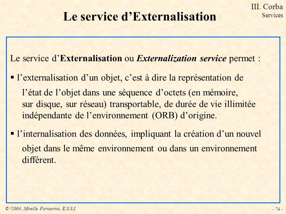 © ²2004, Mireille Fornarino, E.S.S.I. - 74 - Le service dExternalisation Le service dExternalisation ou Externalization service permet : lexternalisat