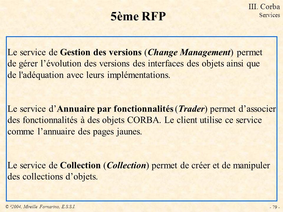 © ²2004, Mireille Fornarino, E.S.S.I. - 79 - 5ème RFP Le service de Gestion des versions (Change Management) permet de gérer lévolution des versions d