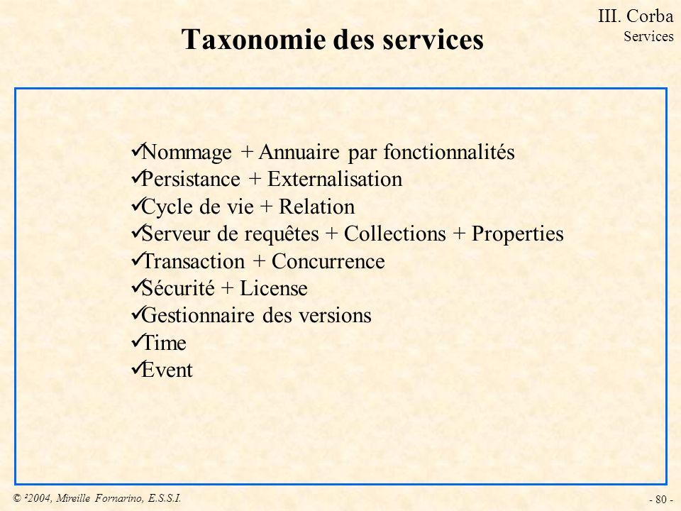 © ²2004, Mireille Fornarino, E.S.S.I. - 80 - Taxonomie des services Nommage + Annuaire par fonctionnalités Persistance + Externalisation Cycle de vie
