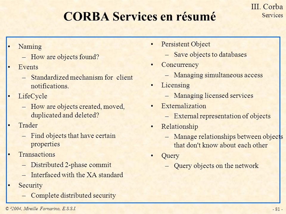 © ²2004, Mireille Fornarino, E.S.S.I. - 81 - CORBA Services en résumé Naming –How are objects found? Events –Standardized mechanism for client notific