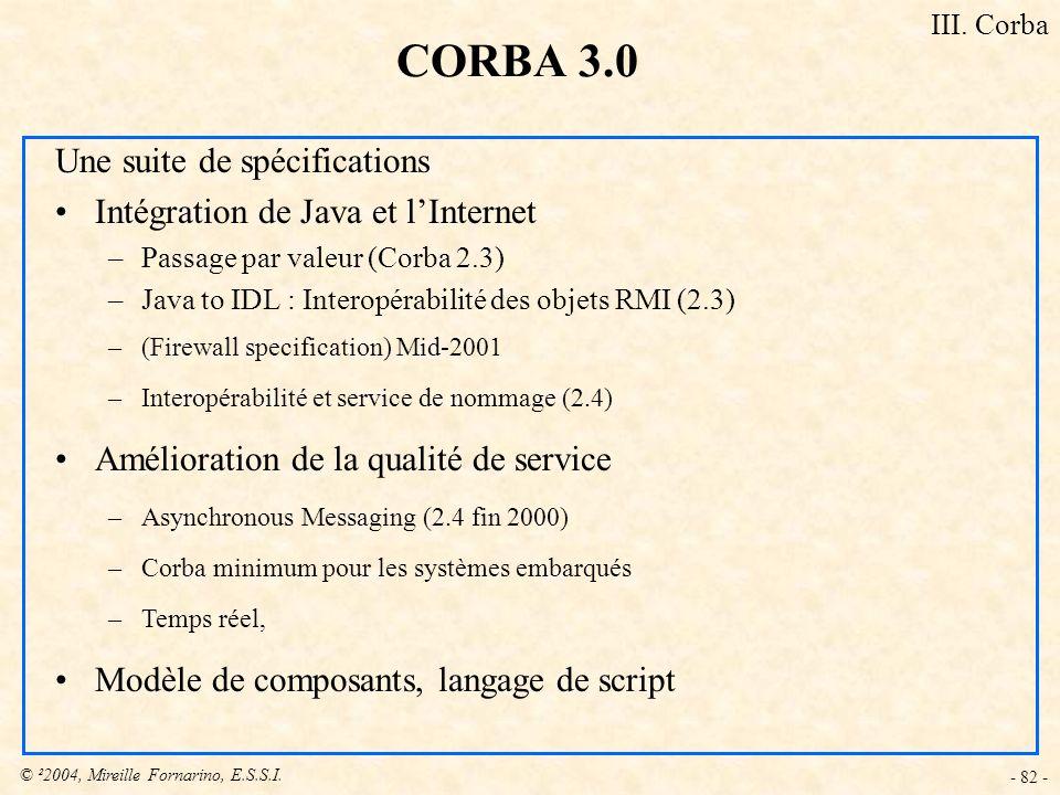 © ²2004, Mireille Fornarino, E.S.S.I. - 82 - Une suite de spécifications Intégration de Java et lInternet –Passage par valeur (Corba 2.3) –Java to IDL