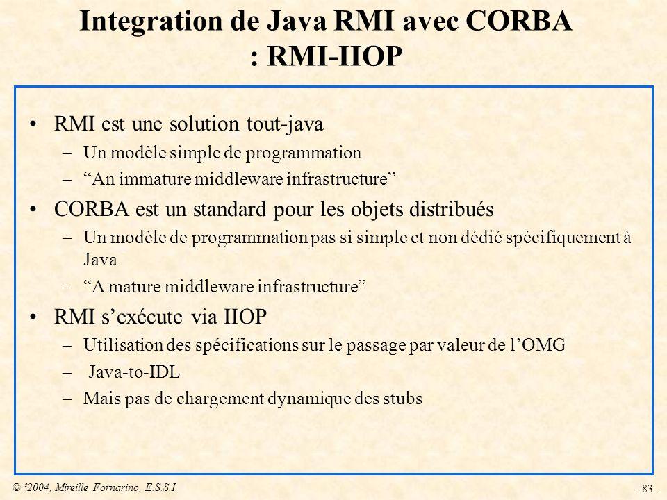 © ²2004, Mireille Fornarino, E.S.S.I. - 83 - Integration de Java RMI avec CORBA : RMI-IIOP RMI est une solution tout-java –Un modèle simple de program