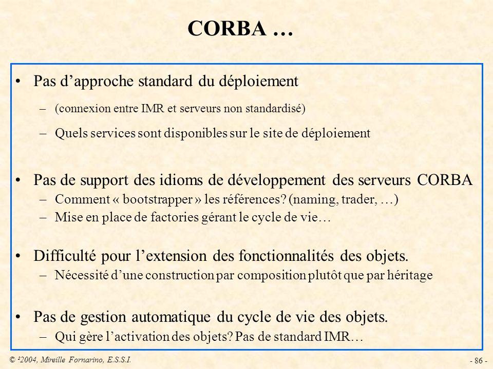 © ²2004, Mireille Fornarino, E.S.S.I. - 86 - CORBA … Pas dapproche standard du déploiement –(connexion entre IMR et serveurs non standardisé) –Quels s