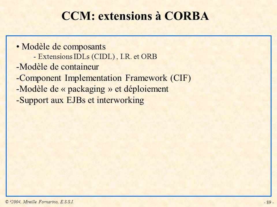 © ²2004, Mireille Fornarino, E.S.S.I. - 89 - CCM: extensions à CORBA Modèle de composants - Extensions IDLs (CIDL), I.R. et ORB -Modèle de containeur