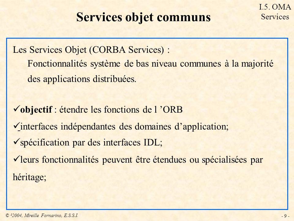 © ²2004, Mireille Fornarino, E.S.S.I. - 9 - Les Services Objet (CORBA Services) : Fonctionnalités système de bas niveau communes à la majorité des app