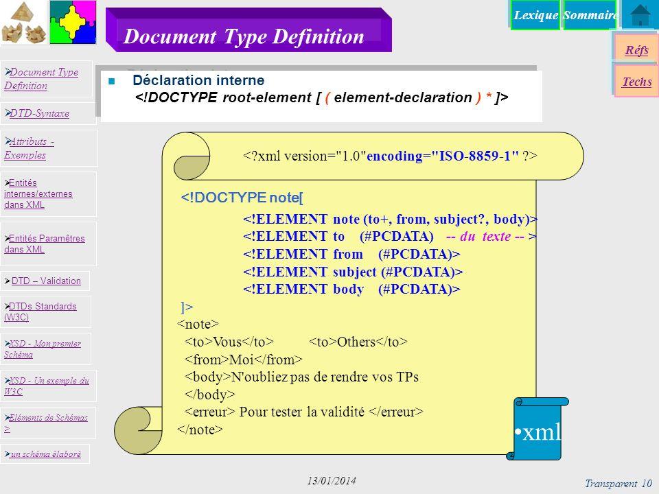 SommaireLexique Réfs Techs Document Type Definition Document Type Definition DTD-Syntaxe DTD – Validation DTD – Validation XSD - Mon premier Schéma XSD - Mon premier Schéma Entités internes/externes dans XML Entités internes/externes dans XML Entités Paramêtres dans XML Entités Paramêtres dans XML XSD - Un exemple du W3C XSD - Un exemple du W3C Eléments de Schémas > Eléments de Schémas > Attributs - Exemples Attributs - Exemples DTDs Standards (W3C) DTDs Standards (W3C) un schéma élaboré Transparent 10 13/01/2014 Document Type Definition n Déclaration interne <!DOCTYPE note[ ]> Vous Others Moi N oubliez pas de rendre vos TPs Pour tester la validité xml