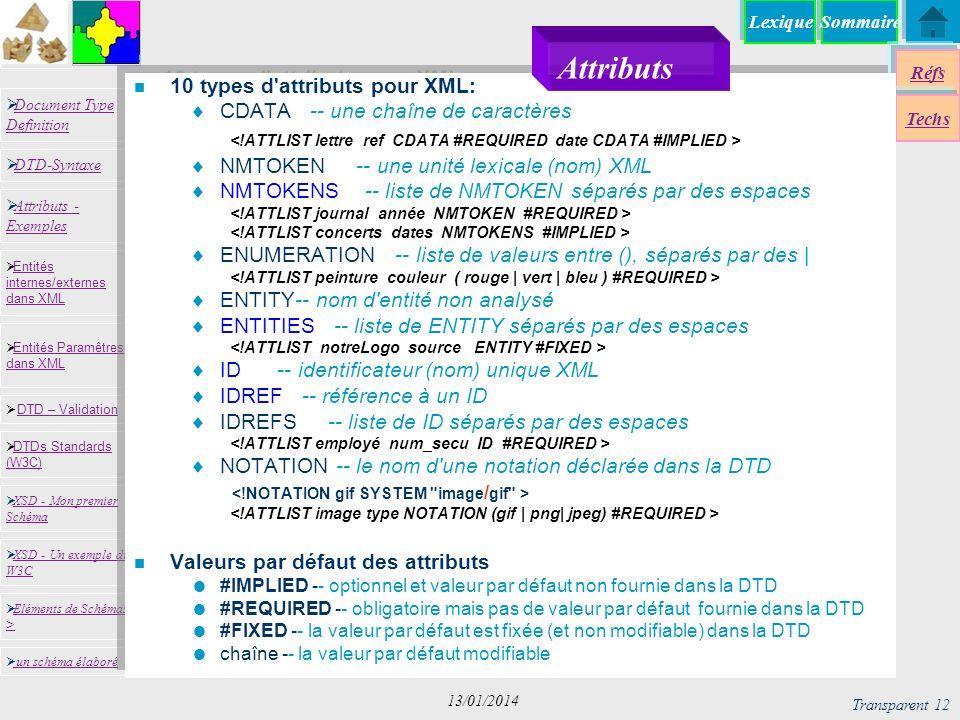 SommaireLexique Réfs Techs Document Type Definition Document Type Definition DTD-Syntaxe DTD – Validation DTD – Validation XSD - Mon premier Schéma XSD - Mon premier Schéma Entités internes/externes dans XML Entités internes/externes dans XML Entités Paramêtres dans XML Entités Paramêtres dans XML XSD - Un exemple du W3C XSD - Un exemple du W3C Eléments de Schémas > Eléments de Schémas > Attributs - Exemples Attributs - Exemples DTDs Standards (W3C) DTDs Standards (W3C) un schéma élaboré Transparent 12 13/01/2014 n 10 types d attributs pour XML: CDATA -- une chaîne de caractères NMTOKEN -- une unité lexicale (nom) XML NMTOKENS -- liste de NMTOKEN séparés par des espaces ENUMERATION -- liste de valeurs entre (), séparés par des | ENTITY-- nom d entité non analysé ENTITIES -- liste de ENTITY séparés par des espaces ID -- identificateur (nom) unique XML IDREF -- référence à un ID IDREFS -- liste de ID séparés par des espaces NOTATION -- le nom d une notation déclarée dans la DTD n Valeurs par défaut des attributs #IMPLIED -- optionnel et valeur par défaut non fournie dans la DTD #REQUIRED -- obligatoire mais pas de valeur par défaut fournie dans la DTD #FIXED -- la valeur par défaut est fixée (et non modifiable) dans la DTD chaîne -- la valeur par défaut modifiable Attributs