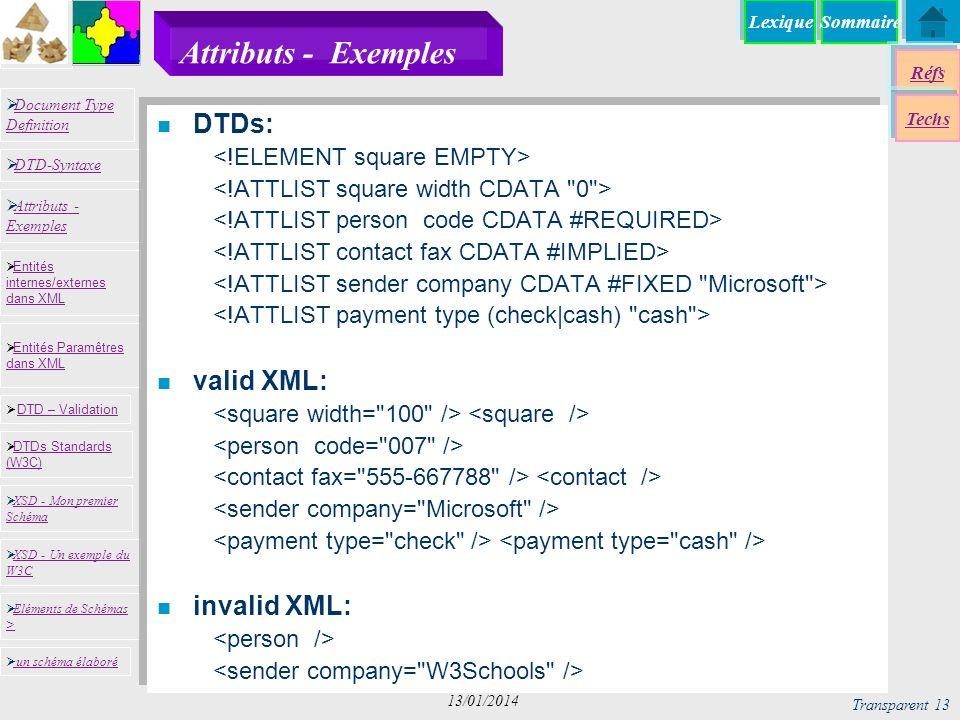 SommaireLexique Réfs Techs Document Type Definition Document Type Definition DTD-Syntaxe DTD – Validation DTD – Validation XSD - Mon premier Schéma XSD - Mon premier Schéma Entités internes/externes dans XML Entités internes/externes dans XML Entités Paramêtres dans XML Entités Paramêtres dans XML XSD - Un exemple du W3C XSD - Un exemple du W3C Eléments de Schémas > Eléments de Schémas > Attributs - Exemples Attributs - Exemples DTDs Standards (W3C) DTDs Standards (W3C) un schéma élaboré Transparent 13 13/01/2014 Attributs - Exemples n DTDs: n valid XML: n invalid XML: