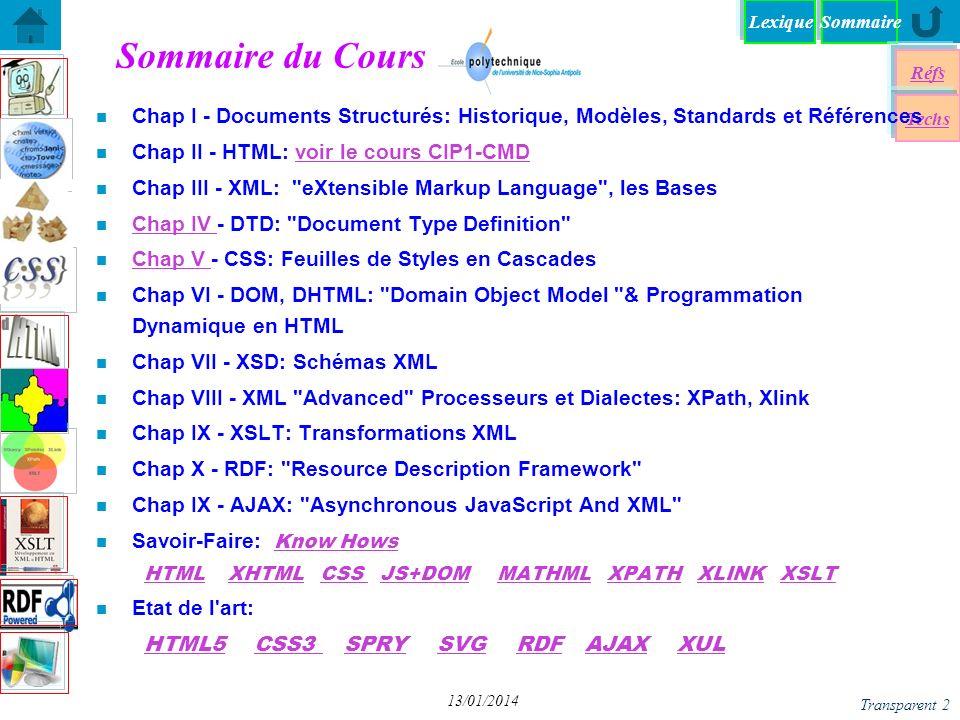 SommaireLexique Réfs Techs Transparent 3 13/01/2014 n Web EPU courses (in French) Création & Manipulltion de Document http://www.polytech.unice.fr/~pfz/cmd.html http://www.polytech.unice.fr/~pfz/cmd.html Introduction to Internet http://rainbow.i3s.unice.fr/iai/ http://rainbow.i3s.unice.fr/iai/ Langages & Documents http:www.polytech.unice;fr/~pfz/document.html http:www.polytech.unice;fr/~pfz/document.html W3C tutorial : http://www.w3schools.com/http://www.w3schools.com/ Mozilla Development Center http://developer.mozilla.org/en/docs/Main_Page http://developer.mozilla.org/en/docs/Main_Page W3C, http://www.w3.org/http://www.w3.org/ Web Developer s Bookmarks http://antriksh.com/resources/ http://antriksh.com/resources/ n Biblio: many issues at EPU s lib Some Références