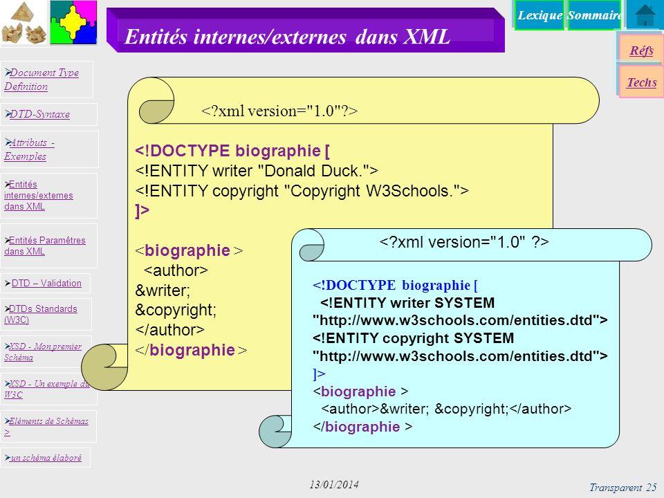 SommaireLexique Réfs Techs Document Type Definition Document Type Definition DTD-Syntaxe DTD – Validation DTD – Validation XSD - Mon premier Schéma XSD - Mon premier Schéma Entités internes/externes dans XML Entités internes/externes dans XML Entités Paramêtres dans XML Entités Paramêtres dans XML XSD - Un exemple du W3C XSD - Un exemple du W3C Eléments de Schémas > Eléments de Schémas > Attributs - Exemples Attributs - Exemples DTDs Standards (W3C) DTDs Standards (W3C) un schéma élaboré Transparent 25 13/01/2014 Entités internes/externes dans XML <!DOCTYPE biographie [ ]> &writer; &copyright; <!DOCTYPE biographie [ ]> &writer; &copyright;