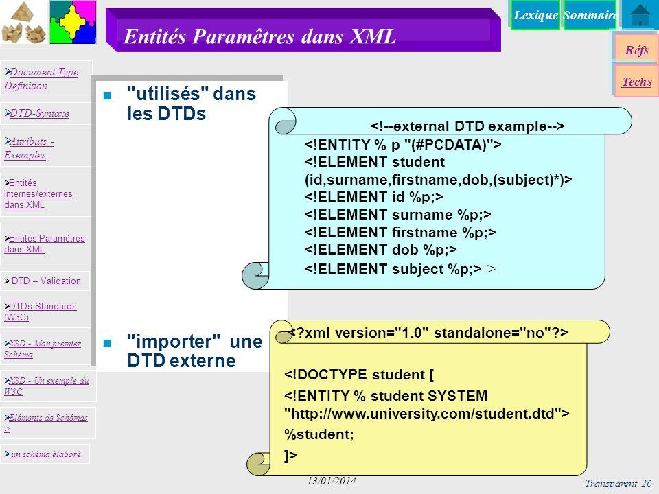 SommaireLexique Réfs Techs Document Type Definition Document Type Definition DTD-Syntaxe DTD – Validation DTD – Validation XSD - Mon premier Schéma XSD - Mon premier Schéma Entités internes/externes dans XML Entités internes/externes dans XML Entités Paramêtres dans XML Entités Paramêtres dans XML XSD - Un exemple du W3C XSD - Un exemple du W3C Eléments de Schémas > Eléments de Schémas > Attributs - Exemples Attributs - Exemples DTDs Standards (W3C) DTDs Standards (W3C) un schéma élaboré n utilisés dans les DTDs n importer une DTD externe n utilisés dans les DTDs n importer une DTD externe Transparent 26 13/01/2014 Entités Paramêtres dans XML <!DOCTYPE student [ %student; ]> >